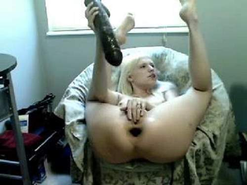 Long Dildo – Epic size toy deeply anal gaping penetration webcam blonde