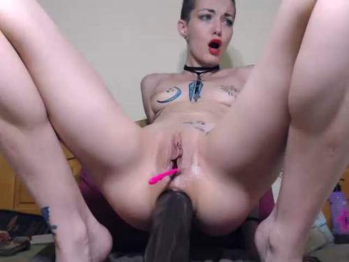 Huge Dildo – Large labia bald girl angelsdaniel rides on a BBC dildo – Release March 20, 2018