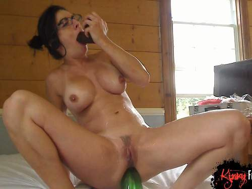 Bottle Penetration – Busty French milf big bottle and dildo riding homemade