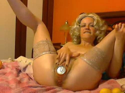 Amateur Fisting – Webcam blonde fanta tin and wine bottle gaping ass fuck