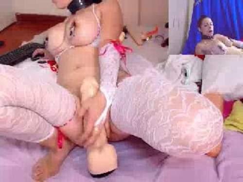 Close Up – Crazy webcam busty girl compilation and dildo fuck