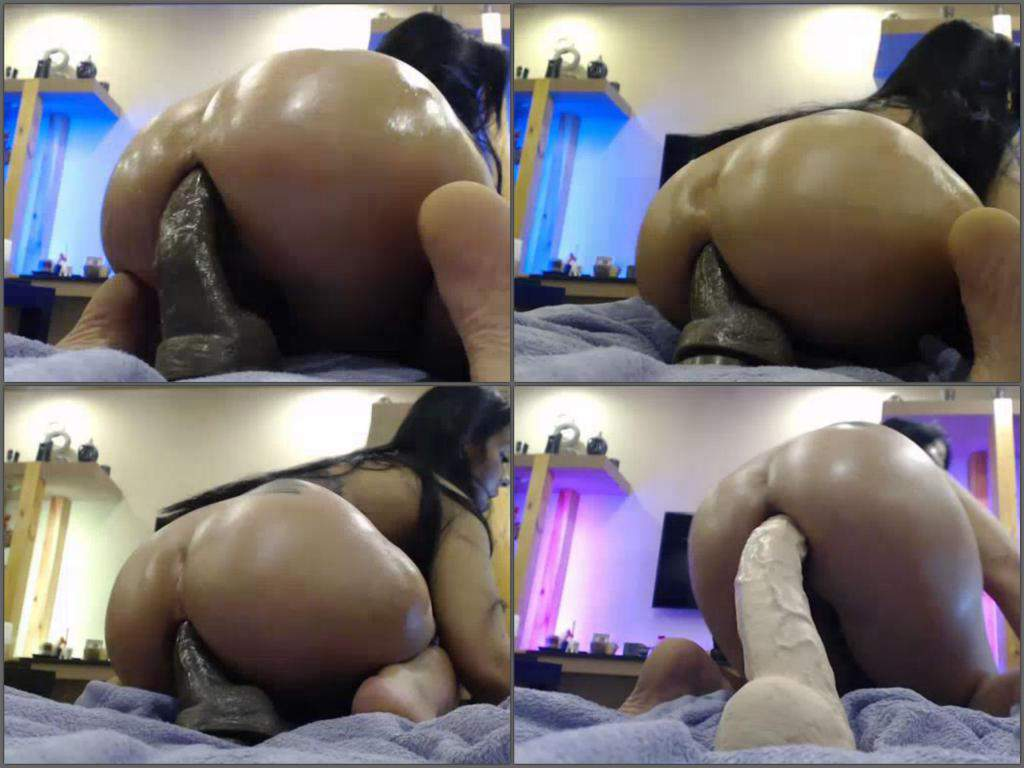 giant toy penetration in ass,huge dildo penetration in anus,crazy chick dildo rides,colossal toy insertion deeply in anus