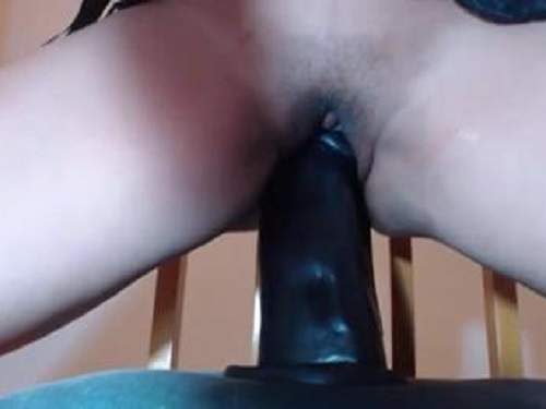 Double Dildo – Private video girl rides on a two huge dildos