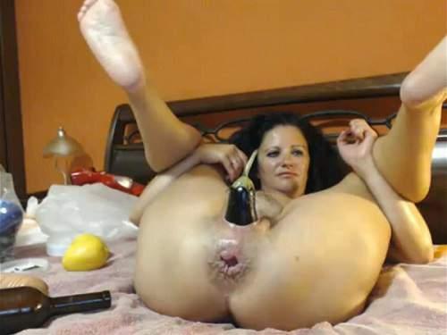 Bottle Penetration – Bottle and eggplant insertion hardcore webcam