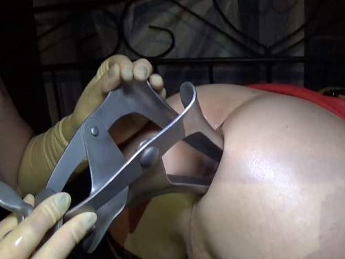 Femdom – Long and huge speculum in husbands asshole
