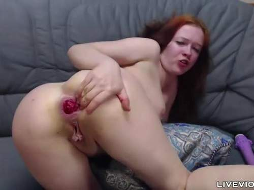 Rosebutt – Anal rosebud ruined dirty redhead girl webcam