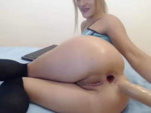 Long Dildo – Wonderful blonde gaping anal and pussy stretching with long toy