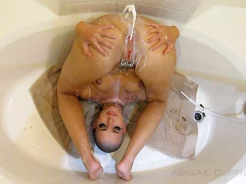 Gaping Asshole – Bald girl Abigail Dupree great milk enema porn