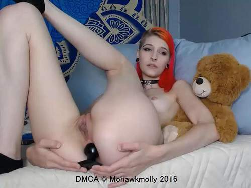 Teen Anal – Mohawkmolly wearing different perverted suit and dildo fuck anal