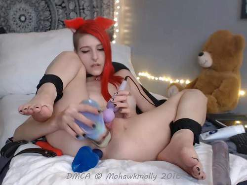 Webcam Teen – Redhead teen double huge dildos solo penetration extreme