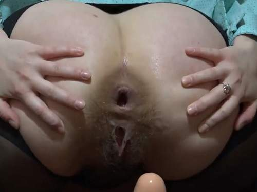 Dildo Anal – Russian hairy wife anal gape stretching with her big dildo