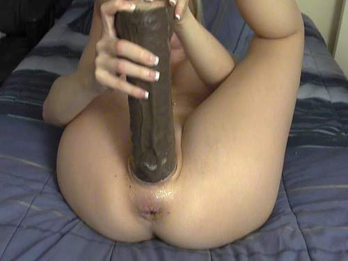Pussy Insertion – Big tits blonde penetration monster dildo in wet cunt homemade