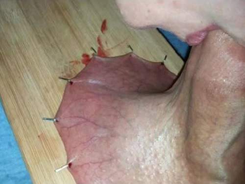 Close Up – Wife pressed her husband's penis to a cutting board