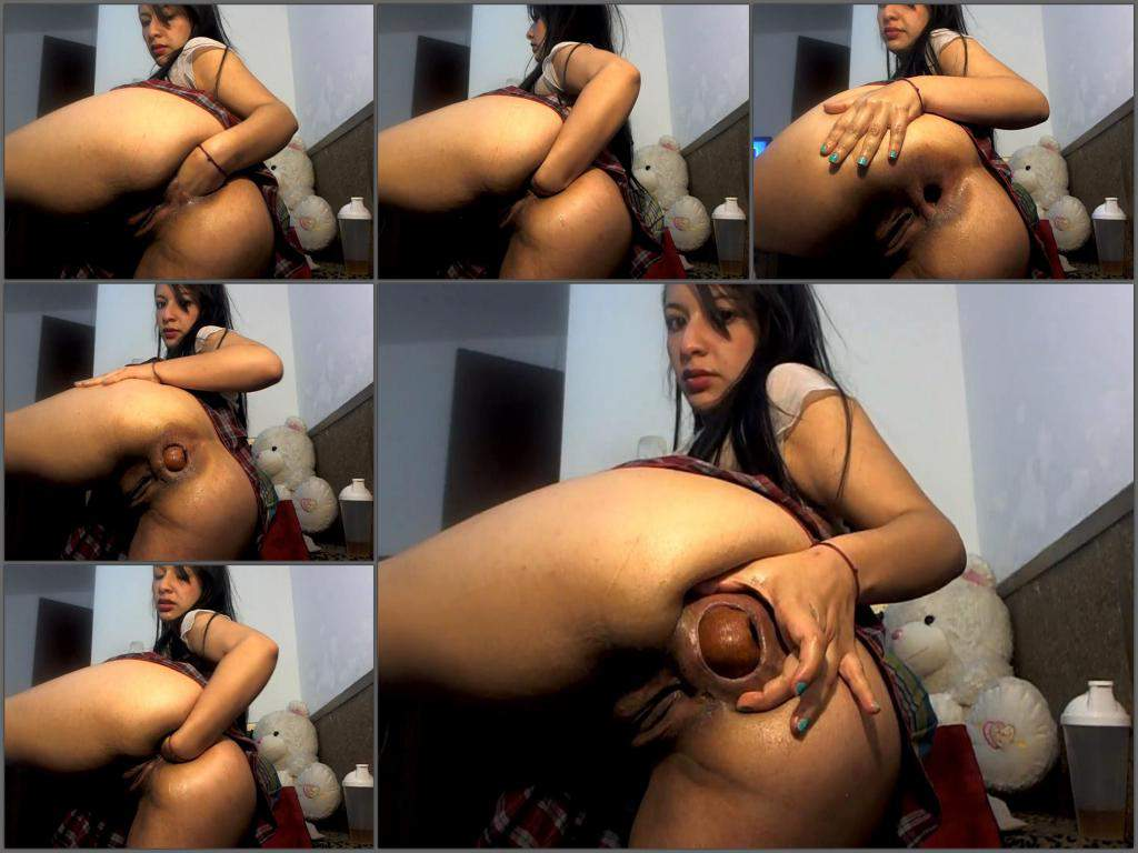 Slim Teen With Bottle Of Wine In The Anal