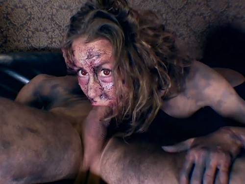 Blowjob – Halloween porn Mia's zombie nightmare. Zombie dick ass to throat attack