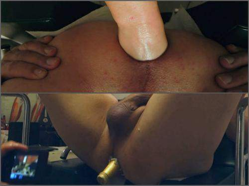 Amateur – Brutal anal fisting and champagne bottle deep in husband's ass