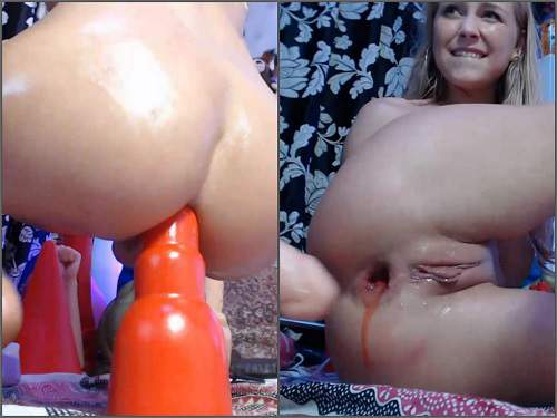 Monster Dildo – Siswet19 again bloody anal gape stretching with monster rubber toys