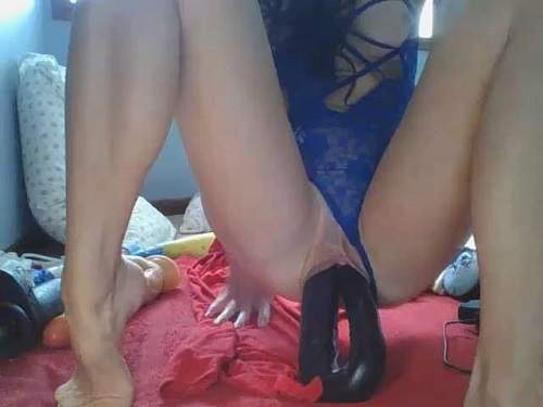Double Dildo – Lilrosiedoll penetration double side huge dildos in her pussy