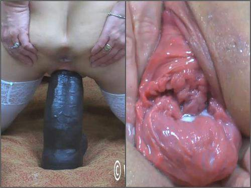 Pussy Insertion – Abuse MILF Hottabbycat pussy prolapse loose with BBC dildo