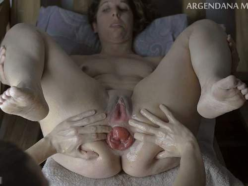 Prolapse Porn – Dirty MILF stretched her giant anal prolapse after deep DP fisting