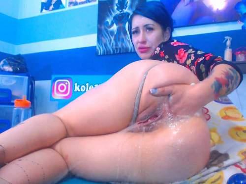 Huge Dildo – Crazy teen Karlakole DAP with huge ball and big dildo