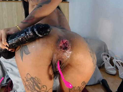 Teen Anal – Asianqueen93 herself double dildo insertion in hairy pussy and wet asshole