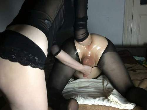 Anal Fisting – Amateur femdom wife Mary Style fisting domination to husband