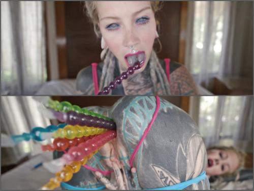 Dildo Anal – Anuskatzz tattoo teen pussy anal masturbation with many toys