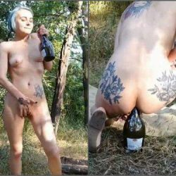 Bottle Riding - Ukrainian dirty skinny girl Forest Whore bottle rides anal and vaginal