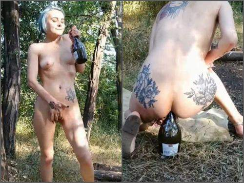 Bottle Riding – Ukrainian dirty skinny girl Forest Whore bottle rides anal and vaginal