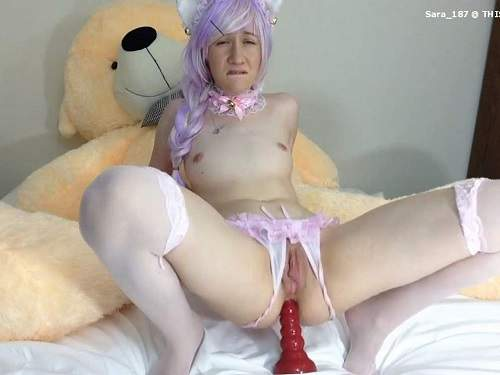 Teen Anal – Webcam horny teen sammysable giant dildo anal penetration