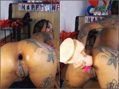 Dildo Anal – Dirty young Asianqueen93 double dildos insert in her rosebutt anus hole