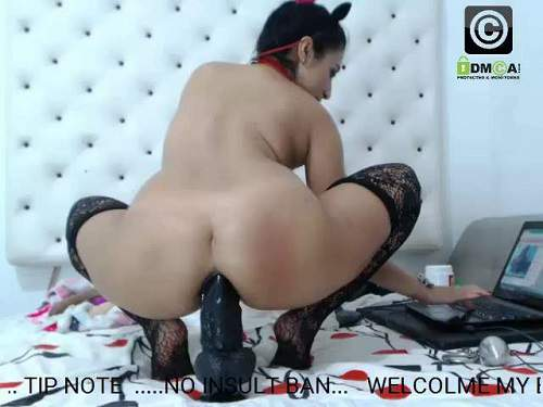 Inflatable Dildo – Very exciting big ass latina chick inflatable toy, BBC dildo and iron ball anal
