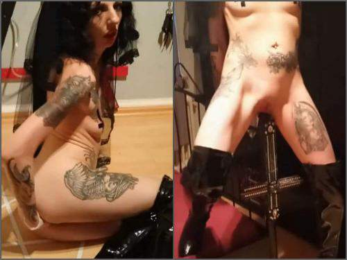 Pussy Insertion – Amateur german satanist brunette bedpost riding and fisting herself