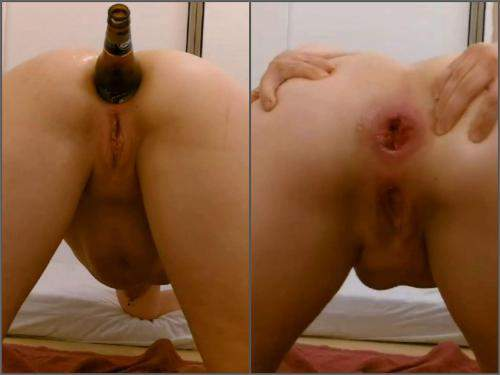 Anal Insertion – Amateur beer bottle penetration anal in different poses