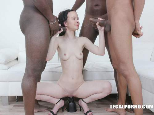 Dildo Riding – Horny brunette Sweetie Plum gets BBC dildo and many black cocks