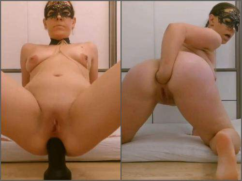 Anal Insertion – Masked girl with saggy tits BBC dildo fuck and self fisting