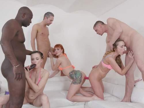 Gangbang – Ally Style, Kessie Shy and Nika double side dildo fuck