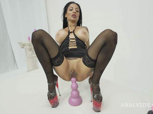 Double Penetration – Crazy and dirty tattooed MILF Lokita dildo anal try