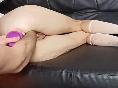 Dildo Anal – Amateur wife gets DP with rainbow dildo and fisting to gaping pussy