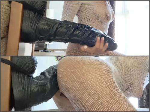 BBC Dildo – Booty large labia wife fully ride on a bad dragon colossal dildo