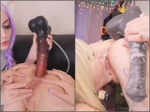 Dildo Anal – Purple_bitch Ahri and Fox girl vs horse dildos 4K porn lesbians
