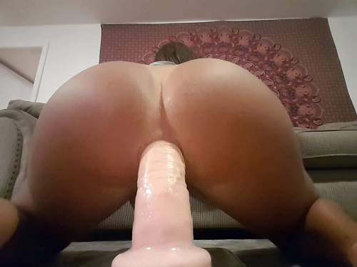 Shemale Dildo – Tsgirl adrienaden giant dildo rough anal penetration webcam