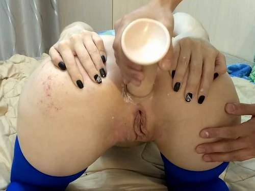Amateur Fisting – Pussy and anal gape loose with masked horny wife homemade