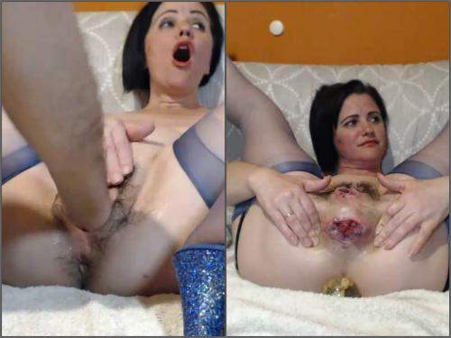 Dildo Porn – Queenvivian wine bottle and BBC dildo rides after brutal fisting sex