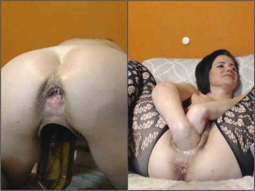 Bottle Penetration – Hot hairy MILF kinkyvivian insertion double fist, BBC dildo and wine bottle in wet pussy