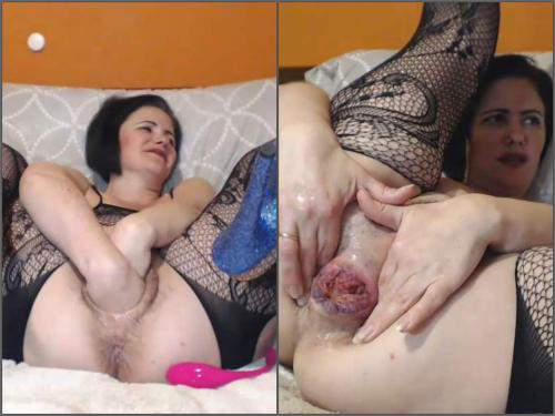 Vegetable Anal – Hairy large labia pussy MILF Analvivian apple, ball, dildo and fist penetration anal