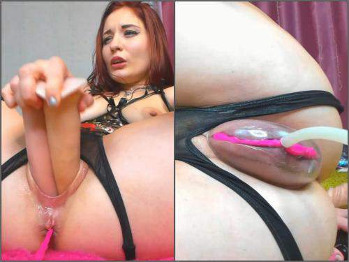 Teen Anal – Redhead kinky pornstar Sonya_Keller vaginal pump and DVP
