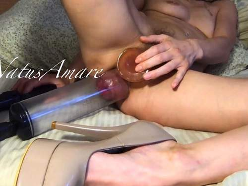 Pump – Perverted petite blonde pumping her asshole and playing with pumped prolapse anal