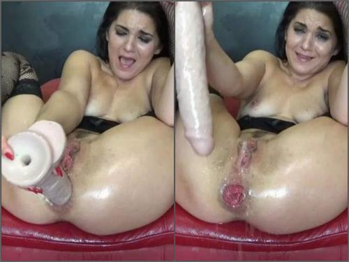 Dildo Riding – Big labia brunette BIackangel squirt prolapse loose during double dildos fuck